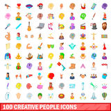 100 creative people icons set, cartoon style Royalty Free Stock Images