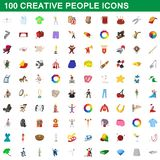 100 creative people icons set, cartoon style. 100 creative people icons set in cartoon style for any design illustration stock illustration