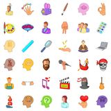 Creative people icons set, cartoon style Stock Image