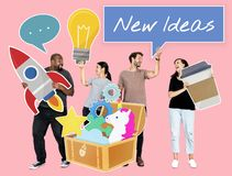 Creative people with a treasure of ideas stock image