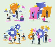 Creative people vector man woman character working together at office illustration set of teamwork ideas brainstorming. Team creating project design on meeting stock illustration