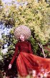 Creative Peruke. Fashionable Stylish Woman with Glamorous Hairstyle. Styled Glamorous Lady in Big Peruke posing royalty free stock image