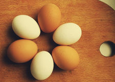 Creative photo of brown and white eggs Royalty Free Stock Photography
