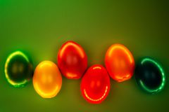 Creative photo of colorful eggs in neon lights on green background. stock image