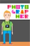 Creative photographer cartoon character. Stock Photography