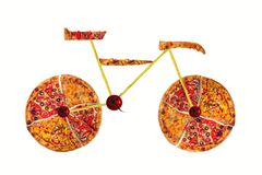Creative picture of road bicycle made of international pizza and vegetables on white background. Delivery. Stock Photos