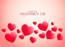 Creative pink 3d hearts background for valentine`s day. Illustration Royalty Free Stock Photo