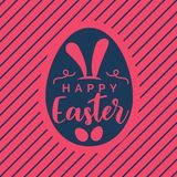 Creative pink happy easter background with diagonal lines Royalty Free Stock Image
