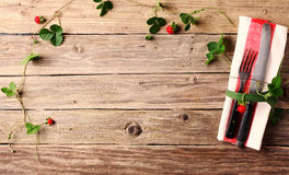 Creative place setting with fresh plants Stock Photography