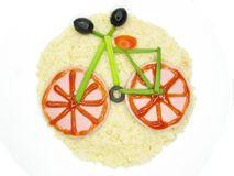 Creative porridge bicycle shape Royalty Free Stock Images