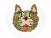 Creative porridge cat animal face shape Stock Image