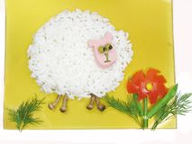 Creative porridge sheep shape Stock Images