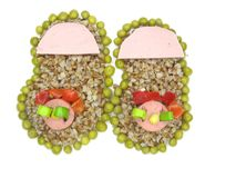Creative porridge slippers shape Stock Photos