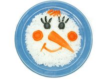 Creative porridge snow man shape Royalty Free Stock Image