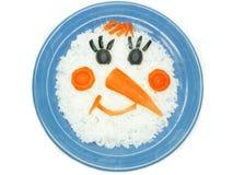 Creative porridge snow man shape royalty free stock image