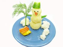 Creative porridge snowman shape Royalty Free Stock Images