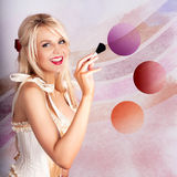 Beauty Woman Using Rouge Blush Color Pallet Stock Photography