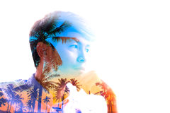 Creative portrait done with double exposure effect Royalty Free Stock Photos