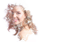 Creative portrait double exposure effect. Beautiful smiling woman portrait on white background Stock Photo