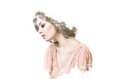 Creative portrait double exposure effect. Ecology. Royalty Free Stock Images