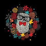 Creative portrait of hipster owl in glasses. Vector illustration with floral elements. Creative portrait of hipster owl in glasses Stock Photography