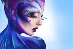 Creative portrait of young beautiful girl with unusual body art Royalty Free Stock Photo