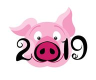 Creative postcard for New 2019 Year with cute pig. stock illustration