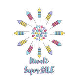 Creative poster Sale Happy Diwali. Creative poster, banner or flyer design of Diwali Sale for Indian Festival of Lights, Happy Diwali Royalty Free Stock Photo