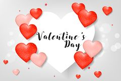 Creative Poster, Banner or Flyer design of Sale with 40% discount offer on Top Brands for Happy Valentine`s Day celebration. Royalty Free Stock Photography