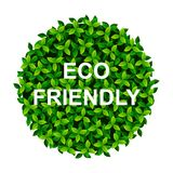 Creative Poster Or Banner with green leaves Earth ball and ECO Friendly text.  royalty free illustration