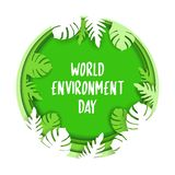 Creative Poster Or Banner Of World Environment Day. 3d paper cut eco friendly design. Vector illustration. Paper carving layer royalty free illustration
