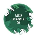 Creative Poster Or Banner Of World Environment Day. 3d paper cut eco friendly design. Vector illustration. Paper carving layer. Green leaves shapes with shadows vector illustration