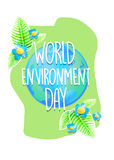 Creative poster or banner of World Environment Day. Ecology protection holiday greeting card. Concept design for placard, flyer, t Stock Photography