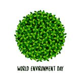 Creative Poster Or Banner Of World Environment Day with green leaves Earth ball.  vector illustration