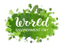 Creative Poster Or Banner Of World Environment Day with green watercolor splashes background.  vector illustration