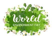 Creative Poster Or Banner Of World Environment Day with green watercolor splashes background.  royalty free illustration
