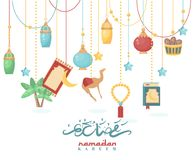 Creative poster design for holy month of muslim community festival Ramadan Kareem. Arabic decorations. Creative poster design for holy month of muslim community Royalty Free Stock Photos