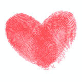 Creative poster with double fingerprint heart. Red realistic thumbprint  on white. For wedding, honeymoon, valentines day or romantic design. Qualitative trace Royalty Free Stock Photos