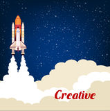 Creative poster with rocket srart launch Stock Images