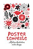 Creative poster template with flowers and abstract hand drawn elements. Can be used for advertising, graphic design. Creative poster template with flowers and Royalty Free Stock Photography