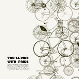 Creative poster with various bikes and space for your text Stock Images