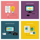 Creative process, branding graphic design icon set Stock Photos