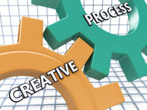 Creative Process Concept on the Mechanism of Colorful Cogwheels Stock Photos