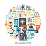 Creative process flat infographics icons in circle - color concept illustration for sewing cover, emblem, template. Creative process flat infographics icons in Stock Photography