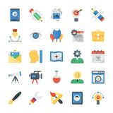 Creative Process Flat Icons Set. This creative process icon pack is embedded  with each and every process of modern time and representing the concept in shape of Stock Image