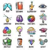Creative Process Icons Set Stock Photo