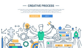 Creative process line design banner with many handed man Royalty Free Stock Photo
