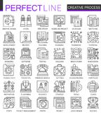 Creative process outline mini concept symbols. Modern stroke linear style illustrations set. Perfect thin line icons. stock illustration