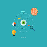 Creative process vision flat web infographic technology online service application internet business concept vector. Design elements for web and mobile Stock Illustration