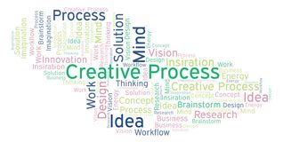 Creative Process word cloud, made with text only. stock illustration